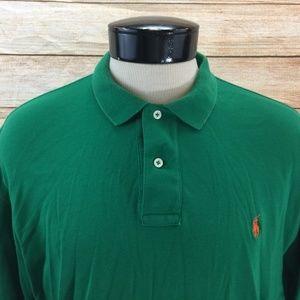 Long Sleeve Polo Shirt Green with Orange Pony